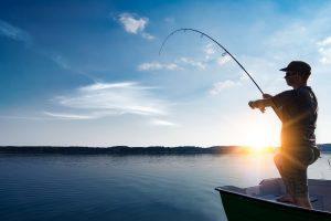 Man fishing at Lake Folsom