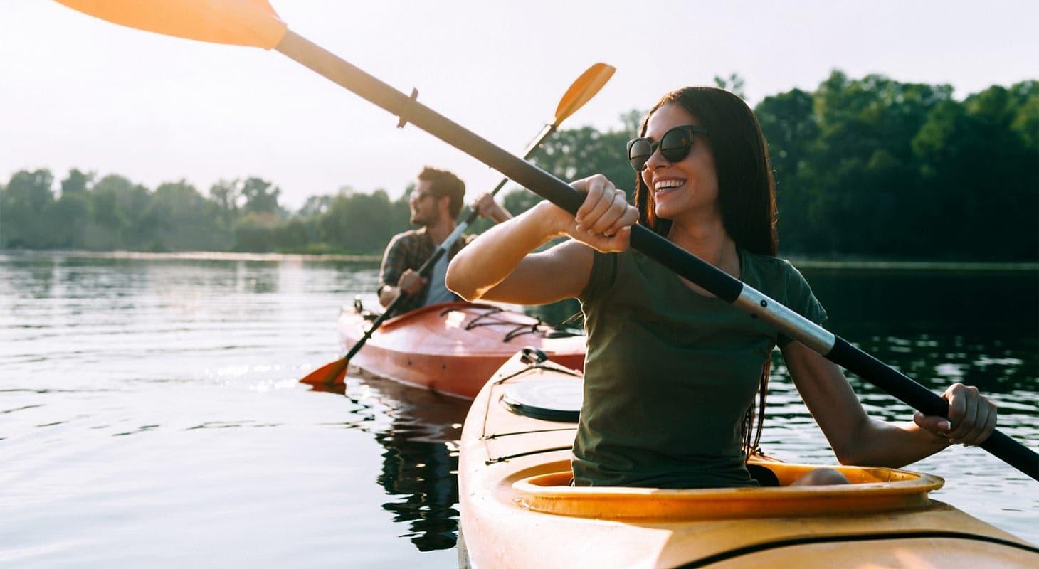 Woman and Man Kayaking in Folsom Lake