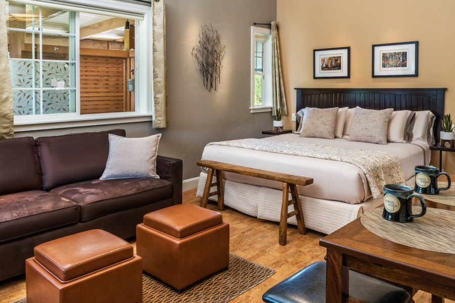 luxurious guest room at Eden Vale Inn