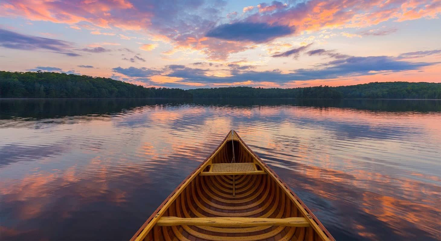 A canoe on Lake Clementine