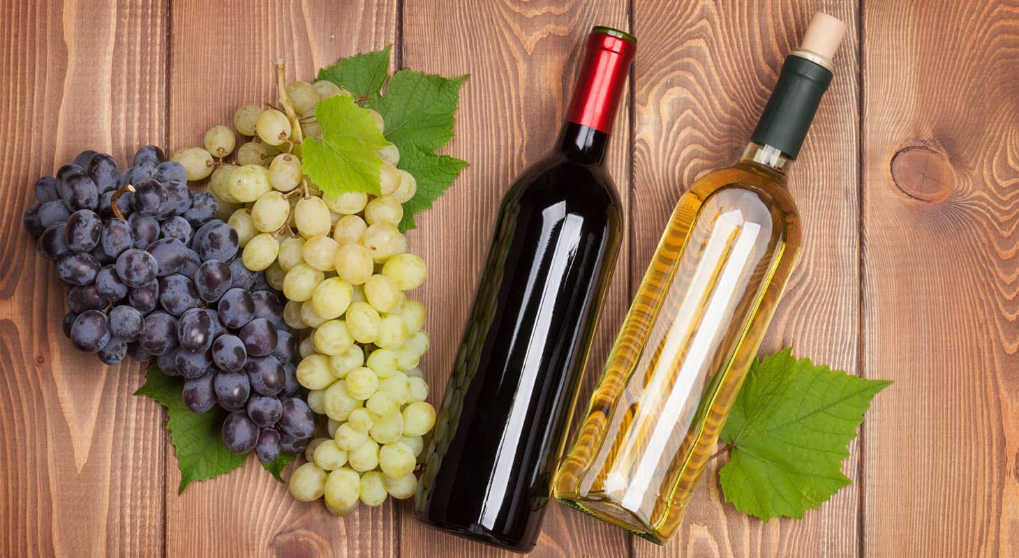 Two wine bottles and two bunches of red and white grapes at Boeger Winery