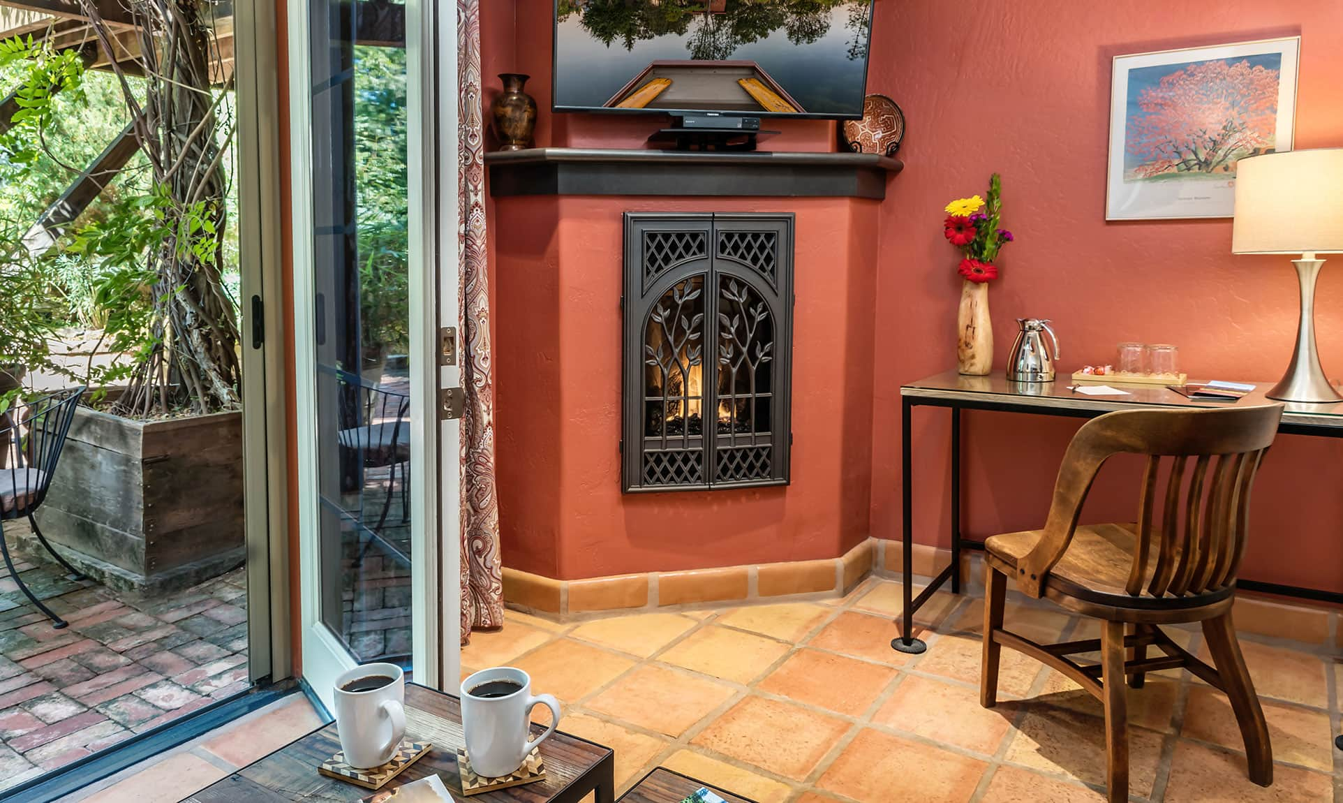 Fireplace by sitting area in the Cottonwood room