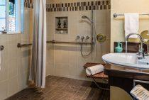 European-style shower in the Live Oak Room