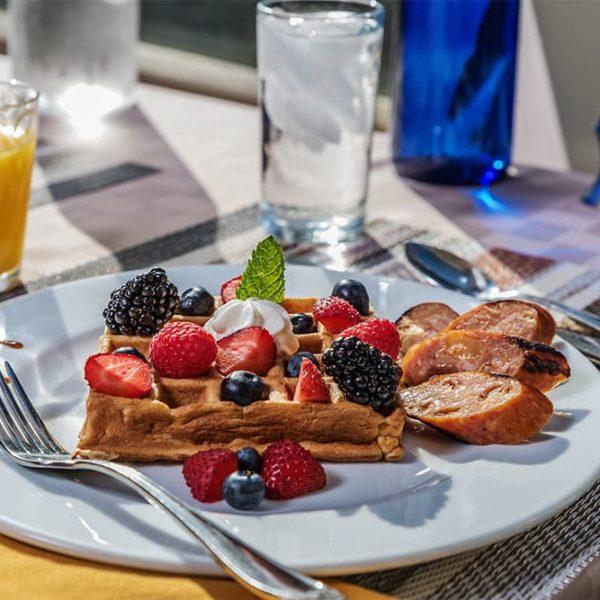 Waffle with fresh berries - Breakfast