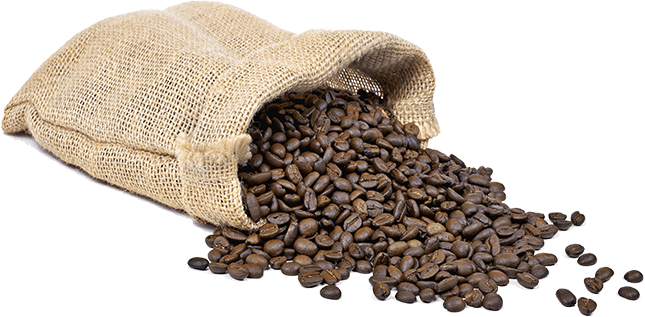 coffee beans spilling out of a burlap sack
