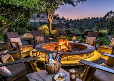 Outdoor Fire Pit at Night with S'mores