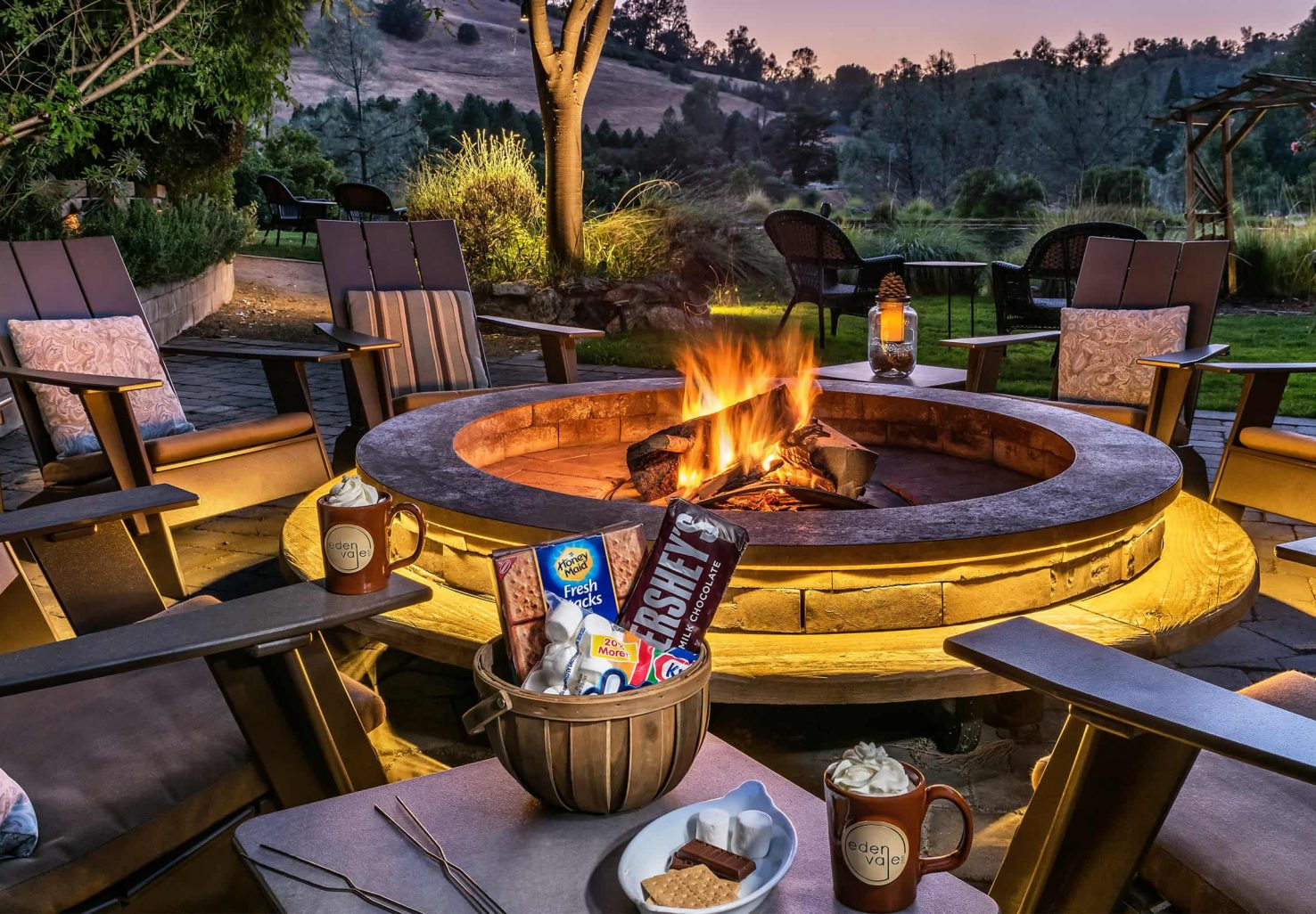 Fire pit at night with s'mores at our bed and breakfast in Northern California