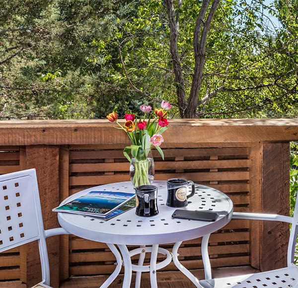 Patio on Gray Pine Room with outdoor bistro table, flowers, and coffee cups