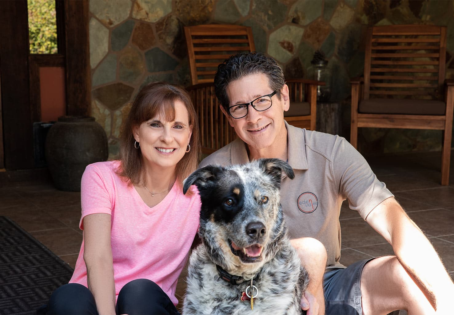 Our Northern CA B&B Innkeepers David and Karen with their dog Sam