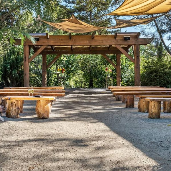 Outdoor Wedding Pavilion with wooden benches