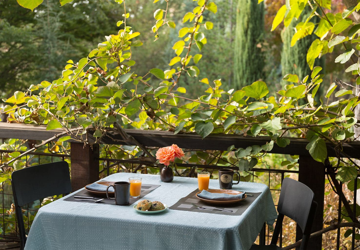 Table for two on the patio for Breakfast at our Placerville, CA Hotel