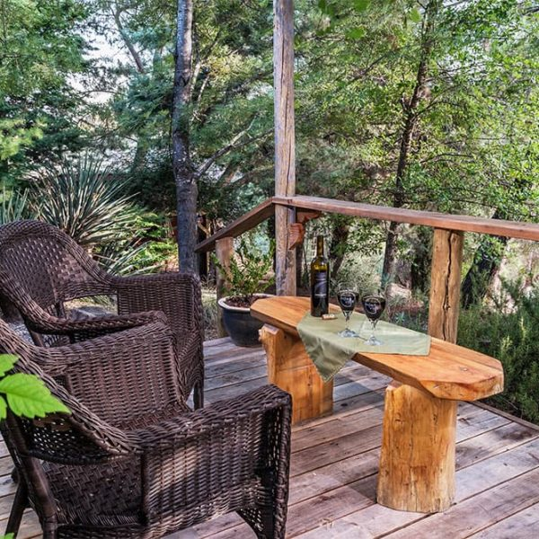 Secluded Porch with Red Wine