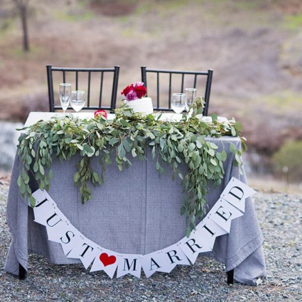 Outdoor Table for two that says Just Married