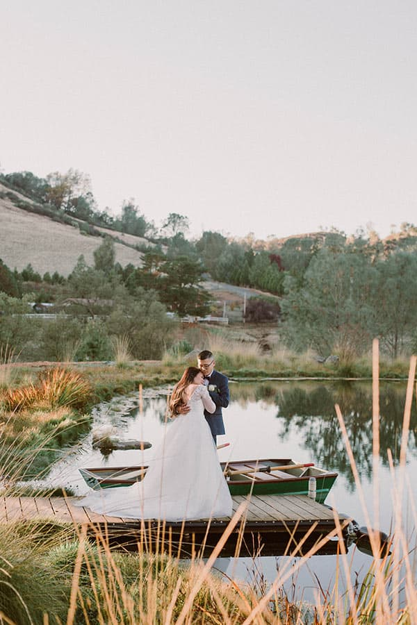 Bride and Groom at the outdoor pond