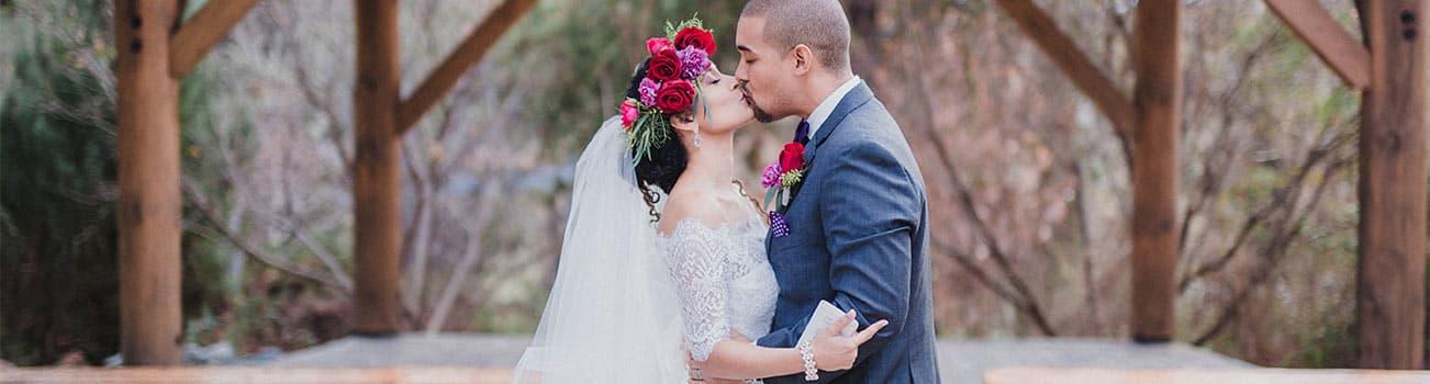 Wedding Kiss under alter