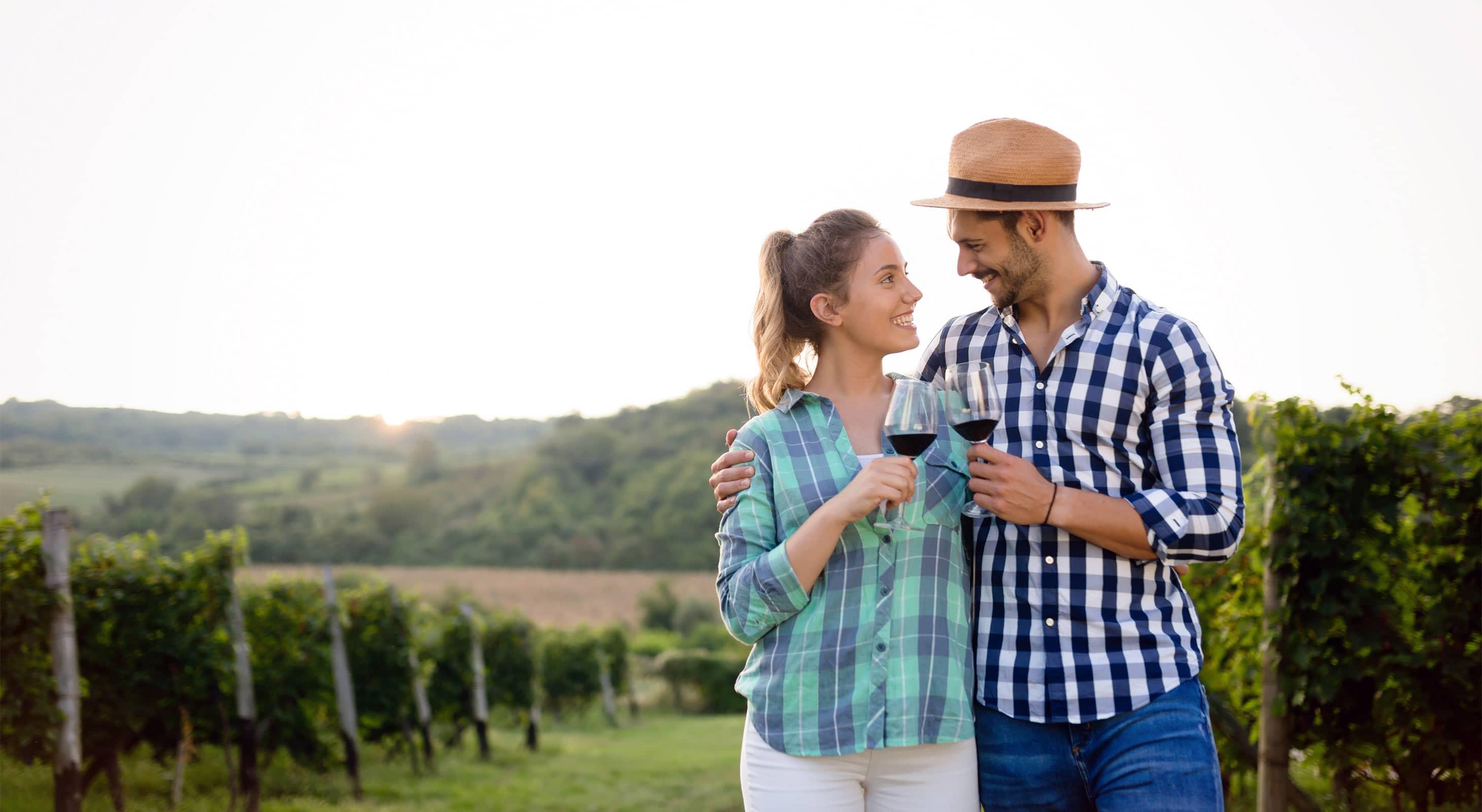 A Couple Tasting Wine in California
