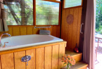 Couples private deep outdoor soaking tub