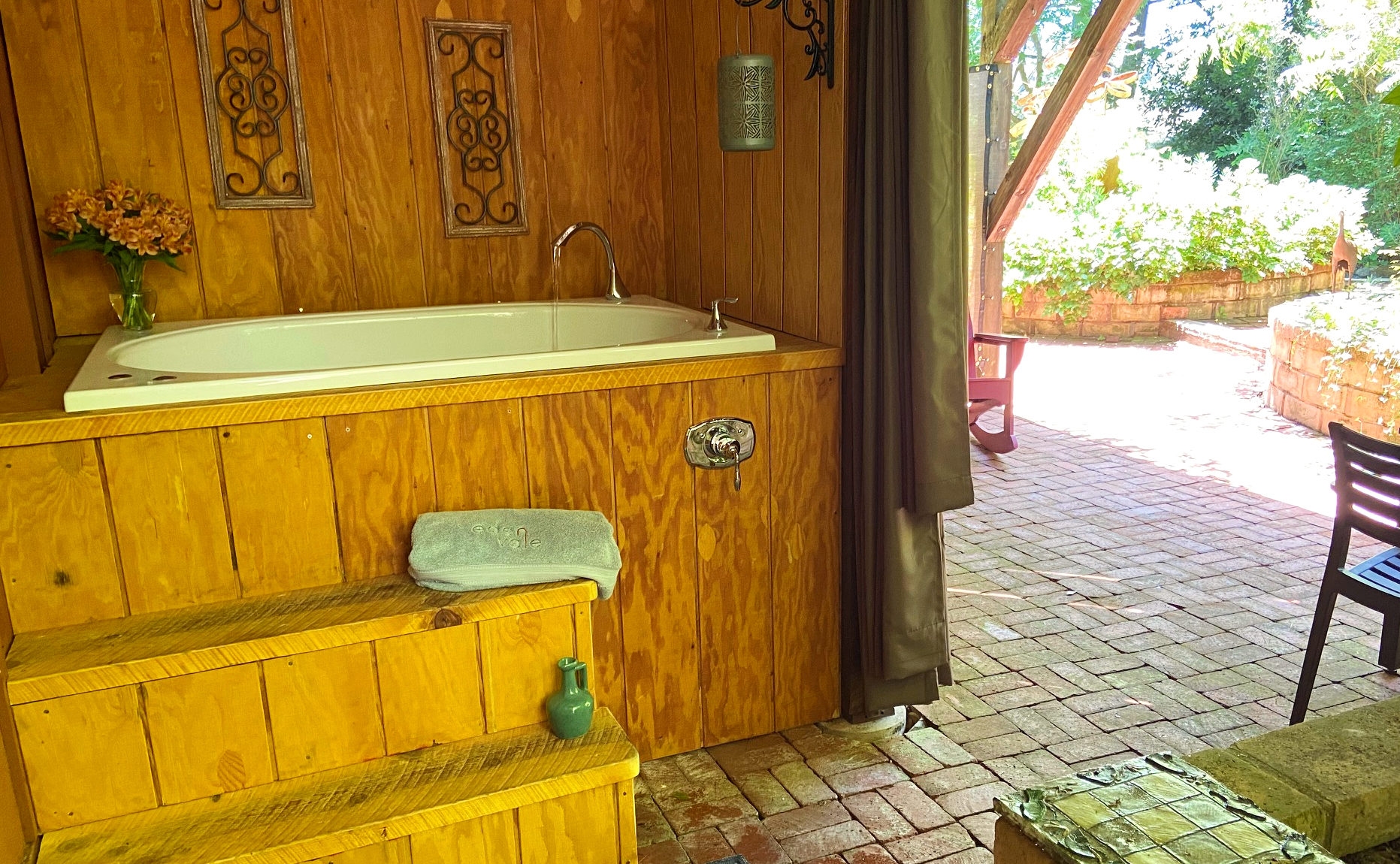 Private outdoor soaking tub on the patio