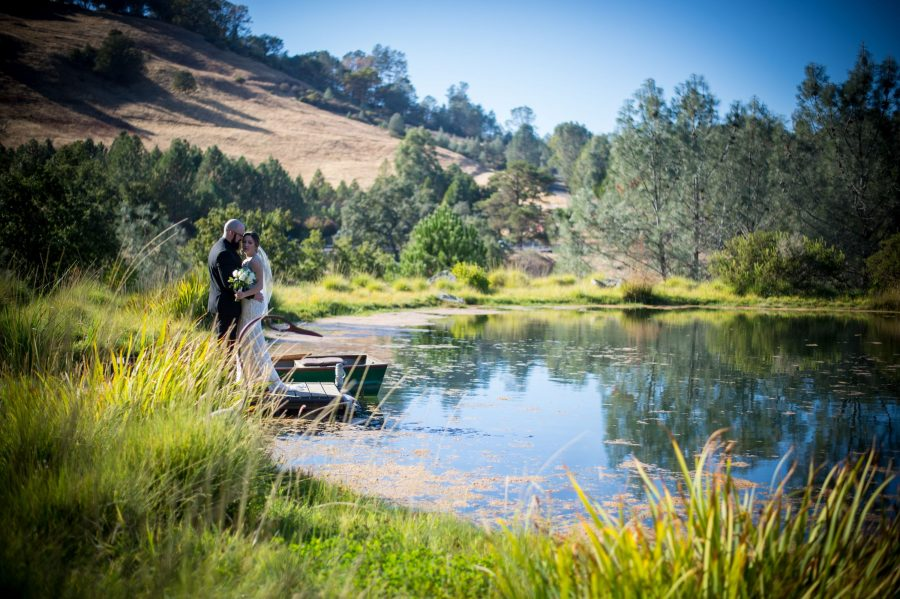 bride and groom near a pond