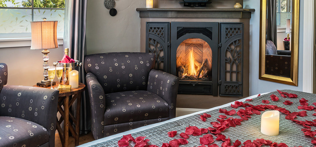 Rose petals on the bed in a romantic room